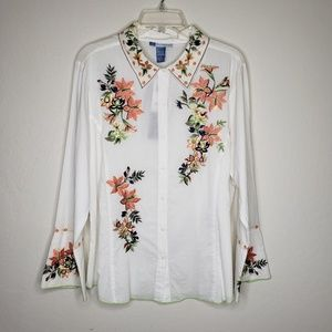 Half Moon Bay Floral Embroidery Boho Blouse  Top